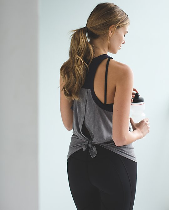 Clip In Tank:  Super lightweight tank with a breezy back and anti-stink fabric, with a flattering fit.  Lululemon.com $58.00